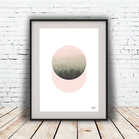PRINT of, Forest, Trees, wall decor, printable art, Romantic Modern art, poster Minimal Modern Abstract Digital poster.
