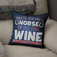Equestrian Cushion Cover, Horse Or Wine, Horse pillow cover, Horse cushion cover, Equestrian Home Decor, Equine Cushion Cover, Horse gift,
