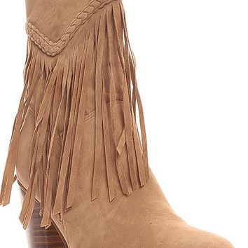 BEIGE FRINGE ACCENT SIDE ZIPPER SUEDE MATERIAL BOOTS