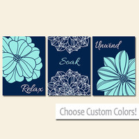 BATHROOM DECOR Wall Art Canvas or Print Flower Home Bathroom Pictures Navy Aqua Relax Soak Unwind Quote Words Flower Artwork Set of 3