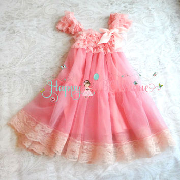 Bubblegum Pink Babydoll Chiffon Lace Dress