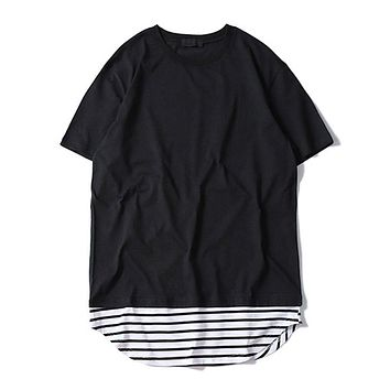Cotton Basic T Shirt Streetwear Long Style Striped Splice Hem Style Men T-shirts Hip Hop Casual Top
