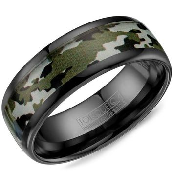 "CrownRing 8MM ""Torque"" Black Ceramic Green Camouflage Wedding Band"
