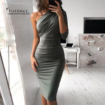 Fuedage Autumn Winter New Off Shoulder Dress Women 2017 Sexy Sheath Asymmetrical Sheath Dresses Knee Leng Club Party Vestido