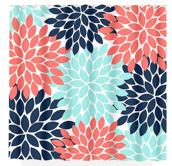 Navy Coral Aqua Floral SHOWER CURTAIN From HoneyDesignStudio On