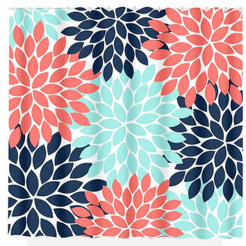 Navy Coral Aqua Floral SHOWER CURTAIN Flowers Custom MONOGRAM Personalized Bathroom Decor Bath Beach Towel Plush Bath Mat Made in Usa