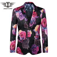 Floral Blazer Men Autumn Stylish Blazers For Men Fashion Printed Blazer Slim Fit Casual Suit Jacket