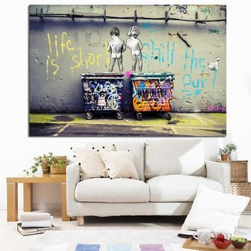 Pop Street Art Graffiti Life is Short Chill the Duck out Two Nude Kid Poster Print Canvas Painting Wall Picute for Cuadros Decor