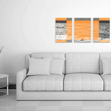 Triptych Canvas Art. 3 Piece Canvas Wall Art Orange. Ocean Wave Canvas. Modern Wide Wall Art. Anthotype