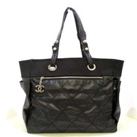Auth CHANEL Paris Biarritz Tote GM Black Nylon PVC Tote Bag w/ Guarantee