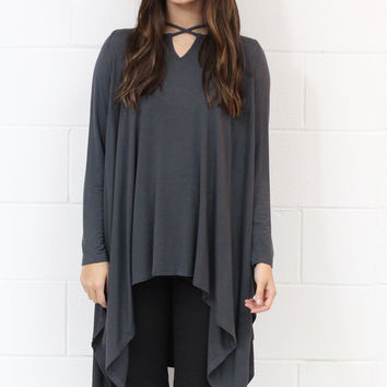 Crossed My Heart Strappy Handkerchief Tunic {Ash} Extended Sizes