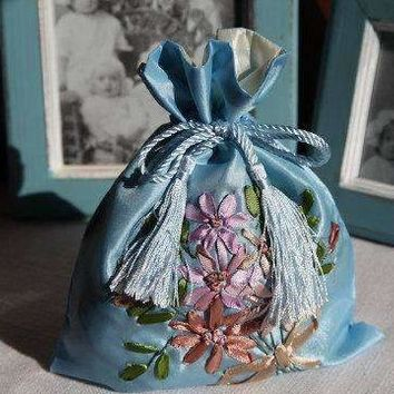 Ribbon Embroidery Drawstring Bags With Beautiful Fringes - Silk Fabric-10 Colours 8.5'' ×7''