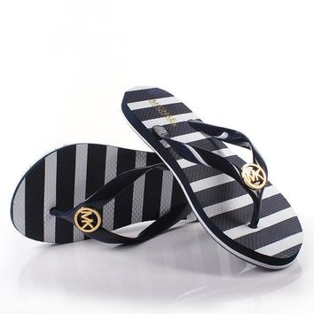 MICHAEL KORS Women Simple Stripe Print Slippers Sandals Shoes