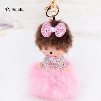 ONETOW 2017 new cartoon Crystal Monchichi Keychain bunny Dolls real Fur Pom Pom pompom Key Chain ball women Bag car Pendant Porte Clef