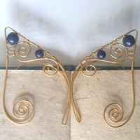 RESERVED For Matt! Gold Plated Lapis Lazuli Elf Ear Cuffs