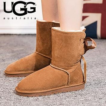 UGG Fashion Women Male Two Bowknot Wool Snow Boots Shoes
