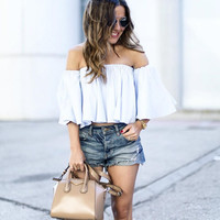 Top off shoulder cotton white blouse