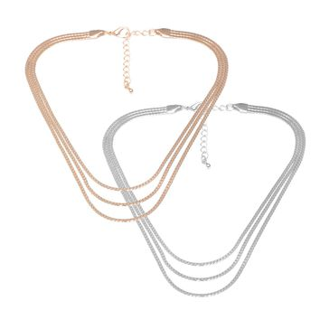 Three Line Chain Layered Choker Necklace