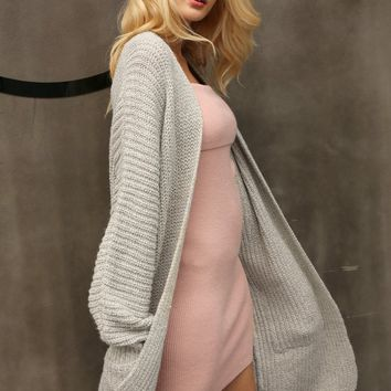 8DESS Knitted Long Cardigan Winter Soft Loose Women Sweater Cardigan Coat Causal Sweater