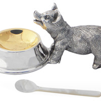 Silver-Plated Pig Salt Cellar & Spoon, Salt & Pepper, Accessories