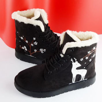 Deer Anklet Shoes Winter Warm Calfskin Shoes Freehand for Girl Women Fashion Wool Snow Boots