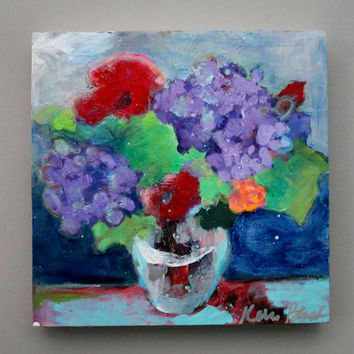 "Abstract Flowers, Floral Still Life Painting, Acrylic, Red, Blue, Purple, Small Original Artwork, ""Hydrangeas and Poppies"""