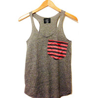 Coral and Gray Striped Pocket Tank Top Women's Eco Friendly Racerback Tanktop in Heather Gray Slub Pocket tanktops