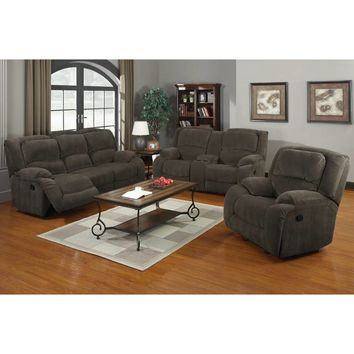 Pulaski Caesar Console Reclining Sofa and Loveseat in Nimbus Seal