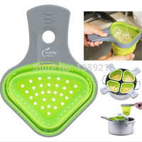 portable Eco-friendly Silicone Strainer Drain Noodles Pasta Scoop Vegies Colander Basket with Handle Kitchen Tool-Green