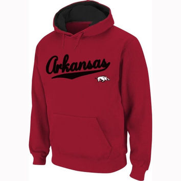 Arkansas Razorbacks Cardinal Twill Script Hooded Sweatshirt