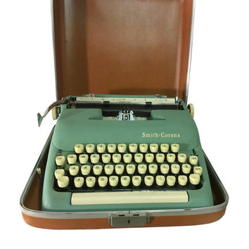 1950s Green Typewriter Smith Corona Sterling in Case Vintage Office Decor