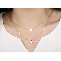 Kaariag Punkin™ Double Layer Star Pendant Chic Necklace(17.3 Inch)
