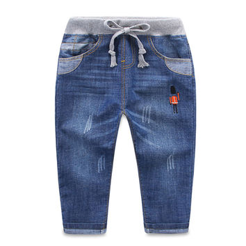 2016 Spring Autumn New Kids Boys Jeans 2-13 Years Age Baby Boy Denim Casual Pants Long Length Straight Jeans Teenage Clothing