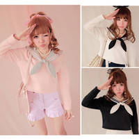 Sailor Collar With Tie Fleece Jumper Pullover Top Free Ship SP141150 from SpreePicky