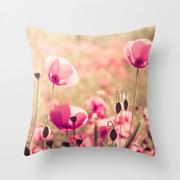 Heaven - poppy flowers photography Throw Pillow by Basic Design