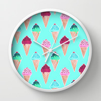 The Cherry on Top Wall Clock by Tangerine-Tane | Society6
