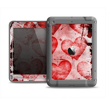 The Grunge Dark & Light Red Hearts Apple iPad Air LifeProof Fre Case Skin Set