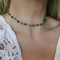 Earthly Glass Beaded Choker Necklace