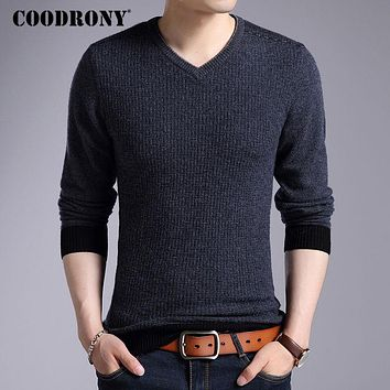 COODRONY Merino Wool Sweater Men 2017 Winter New Mens Thick Warm Knitted Cashmere Sweaters Casual V-neck Pullover Men Jumper 323
