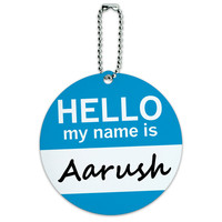 Aarush Hello My Name Is Round ID Card Luggage Tag