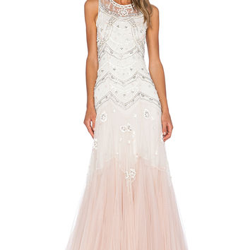 Needle Thread Tulle V Cut Gown In Cream Dust Pink