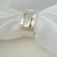 Vintage Sterling Buckle Ring Modernist Design