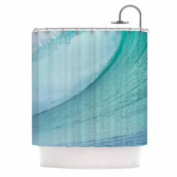 "Susan Sanders ""Ocean Blue Wave"" Teal  Shower Curtain"