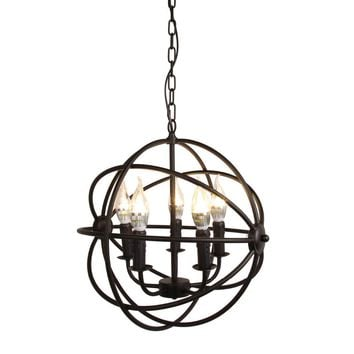Modern Industrial 5 Light Metal Globe Chandelier