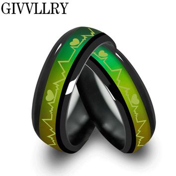 Fashion Titanium Black Mood Rings Temperature Emotion Feeling Engagement Rings Women Men 2017 Promise Rings For Couples Jewelry