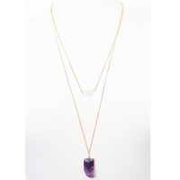 Deep Amethyst Tusk Necklace - Necklace