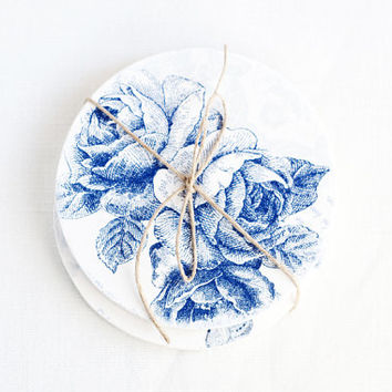 "Wooden round coasters ""Vintage Roses"", set of 2 pieces - Handmade, organic, natural, blue, home decor, gift ideas, ecofriendly"