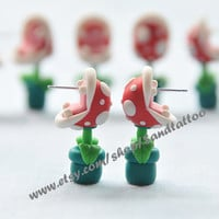 Sale-Nintendo Super Mario YOUCH Piranha Plant Earrings, Chomper Earring