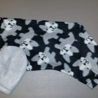 I woof frenchie dog pajama. Size medium. Machine washable. Open underneath for potty and #2 breaks