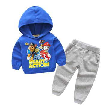 Boy Girls Spring Hot Cartoon Dog Pattern 100%Cotton Tracksuits For Boy Girls Clothing Sets Kids Hooded Clothes Baby Suits TZ010
